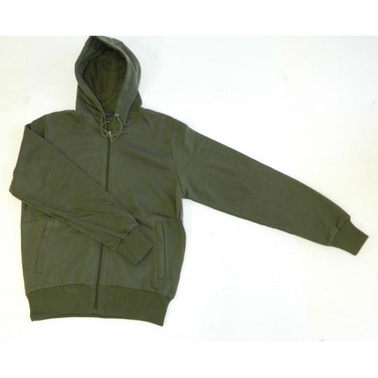 mikina pánská letní zelená s kapucí