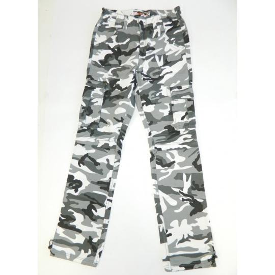 kalhoty UNI zip černobílé