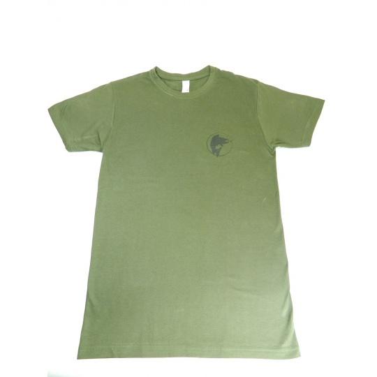 triko zelené potisk ryba